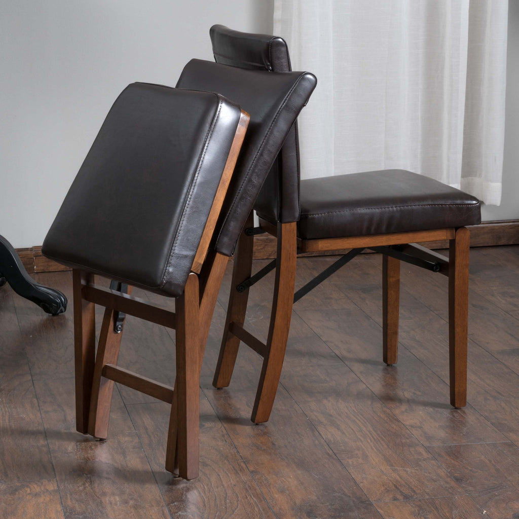 Rosalynn Brown Leather Folding Dining Chairs (Set of 2)