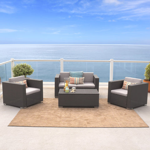 Capulet Outdoor 4-Piece Grey Wicker Sofa Set
