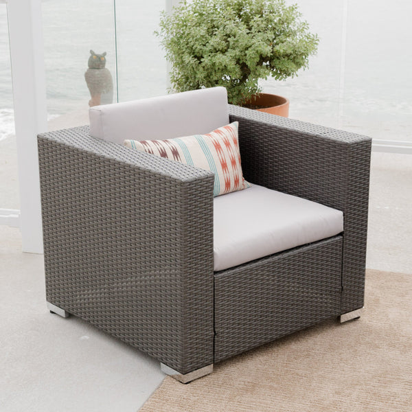 Denise Austin Home Capulet Outdoor 4 Piece Grey Wicker