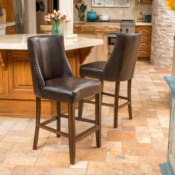 Rydel 27 Inch Brown Leather Nailhead Accent Counter Stools