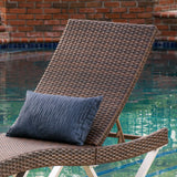 Manuela Outdoor Brown Wicker Aluminum Chaise Lounge Chair
