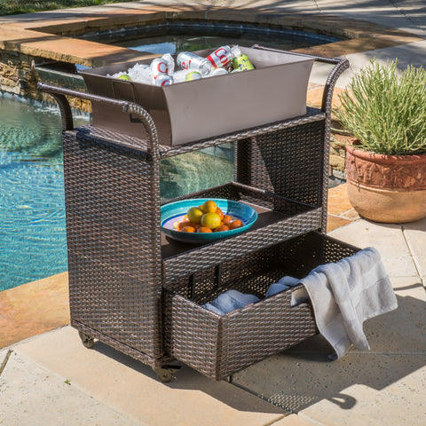Maja Multi-Brown Wicker Bar Cart