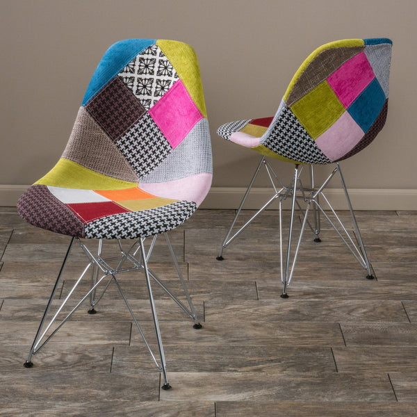 Cassius Multi Color Patchwork Fabric Chairs Set Of 2