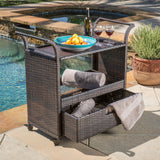 Shelton Multi-Brown Wicker Bar Cart