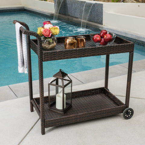 Baja Outdoor Wicker Bar Cart