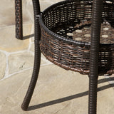 Michael Outdoor 3-Piece Multi-Brown Wicker Bistro Set with Tempered Glass Top