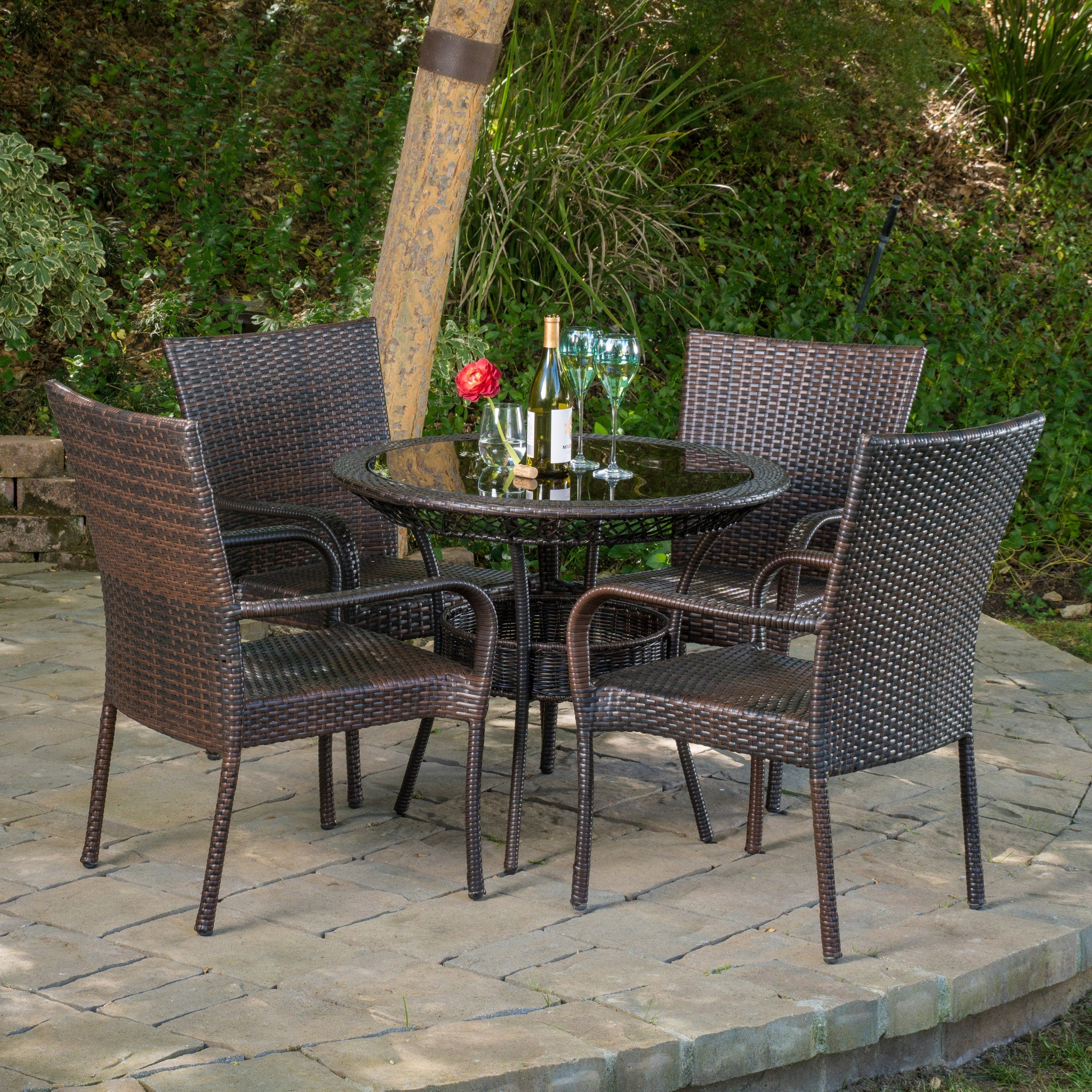 Outdoor Multibrown Wicker Dining Set foto