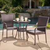 Ferndale Outdoor 3-Piece Multi-Brown Wicker Bistro Set with Tempered Glass Top