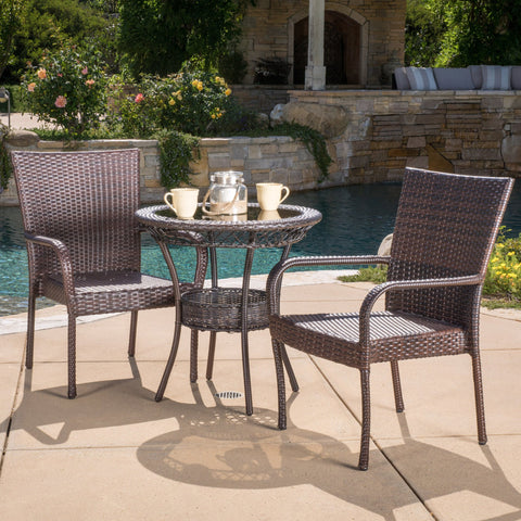 Ferndale Outdoor Multibrown Wicker 3pc Bistro Set