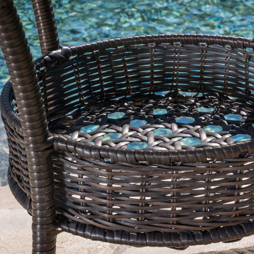 Dana Outdoor 3-Piece Multi-Brown Wicker Bistro Set with Tempered Glass Top