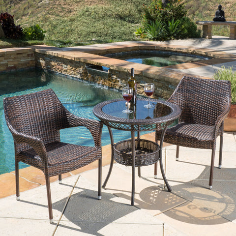Del Mar Outdoor 3pc Multibrown Wicker Bistro Set