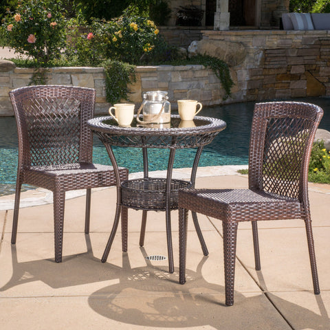 Dana Outdoor Multibrown Wicker 3pc Bistro Set