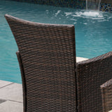 Clementine Outdoor Multibrown PE Wicker Dining Chairs (Set of 2)