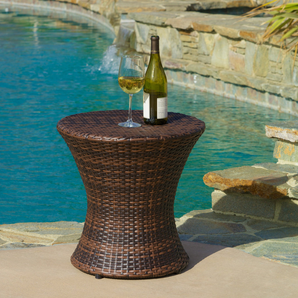 Townsgate outdoor brown wicker hourglass side table gdf studio