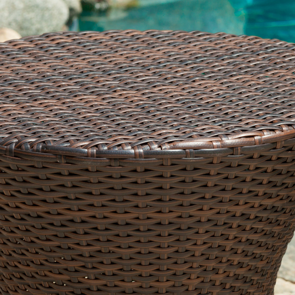 Townsgate Outdoor Brown Wicker Hourglass Side Table