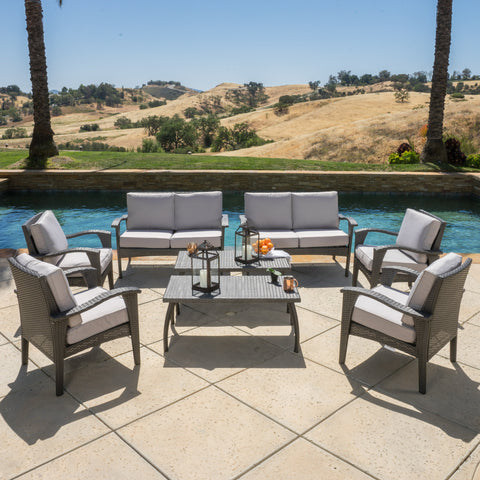 Voyage Outdoor 8pc Grey Wicker Seating Set