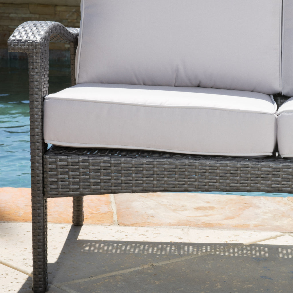 Voyage Outdoor 8 Piece Gray Wicker Chat Set with Cushions