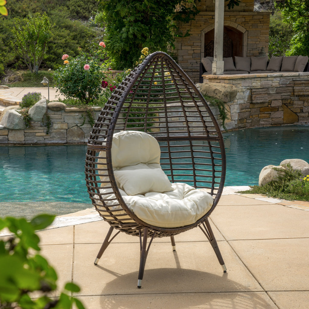 Dermot Outdoor Wicker Freestanding Wicker Teardrop / Egg Chair w/ Cushion