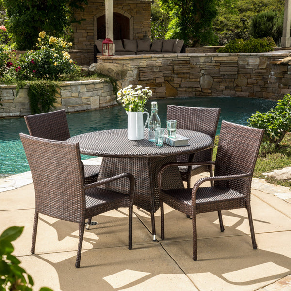 Kory Outdoor 5pc Multibrown Wicker Dining Set