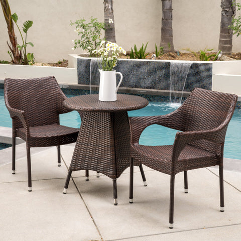 Clayton Outdoor 3pc Multibrown Wicker Bistro Set