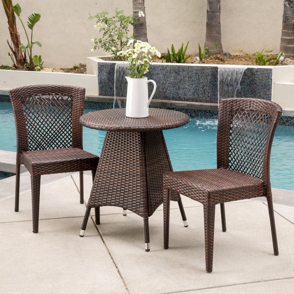 Perry Outdoor 3pc Multibrown Wicker Bistro Set