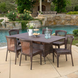 Perry Outdoor 7-Piece Multi-Brown Wicker Dining Set with Umbrella Hole