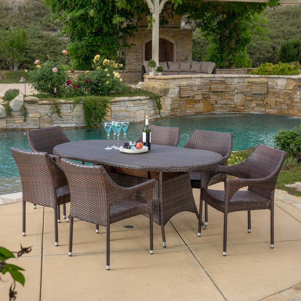 Clayton Outdoor 7pc Multibrown Wicker Round Dining Set