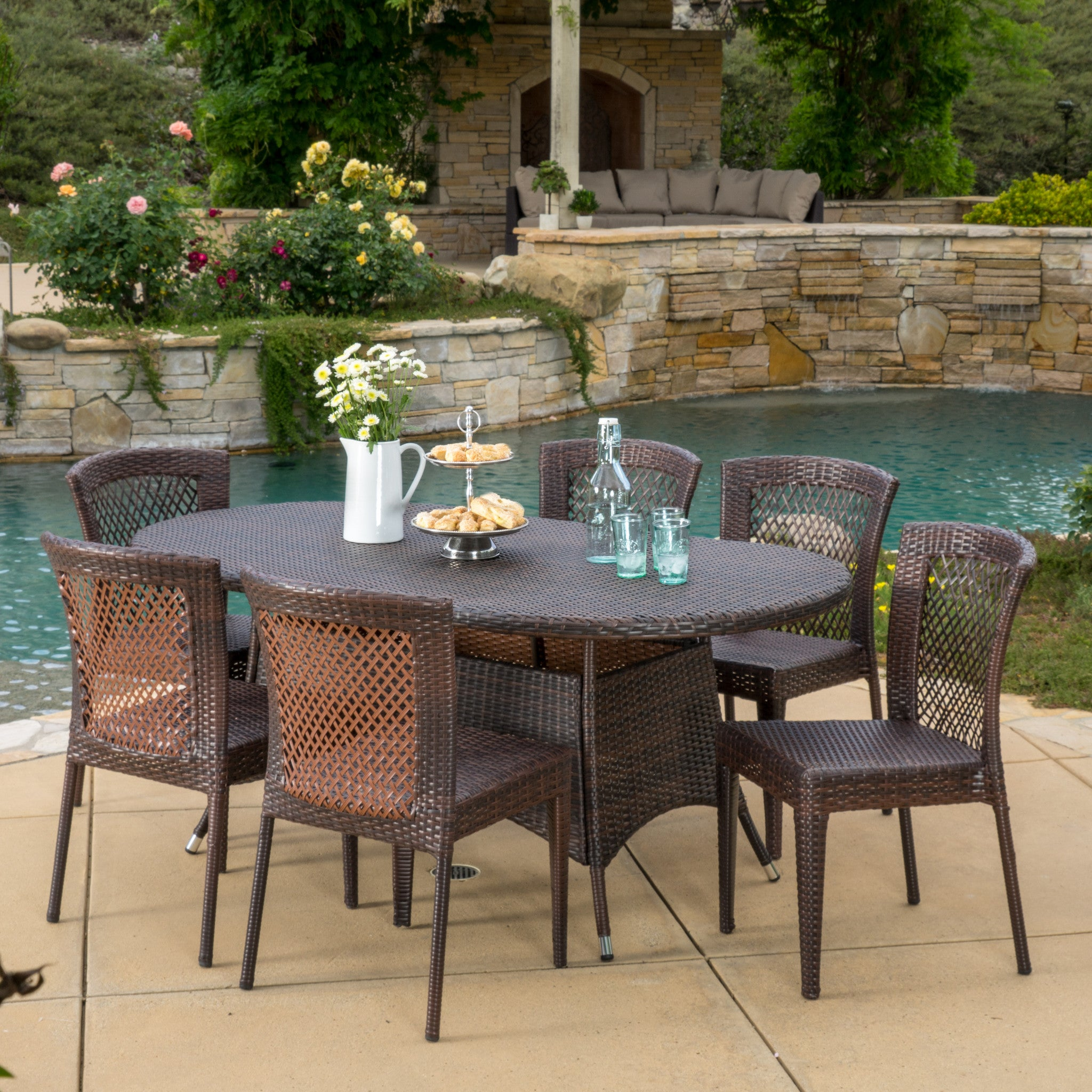 Outdoor Multibrown Wicker Round Dining Set foto