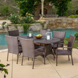 Kory Outdoor 7pc Multibrown Wicker Round Dining Set