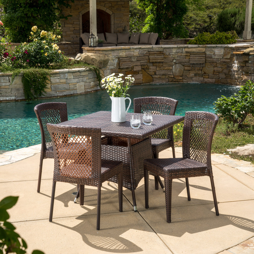 Perry Outdoor 5pc Multibrown Wicker Square Dining Set