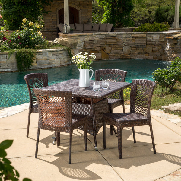 Love These Cube Tables For Patio Or Living Room Made From: Perry Outdoor 5pc Multibrown Wicker Square Dining Set