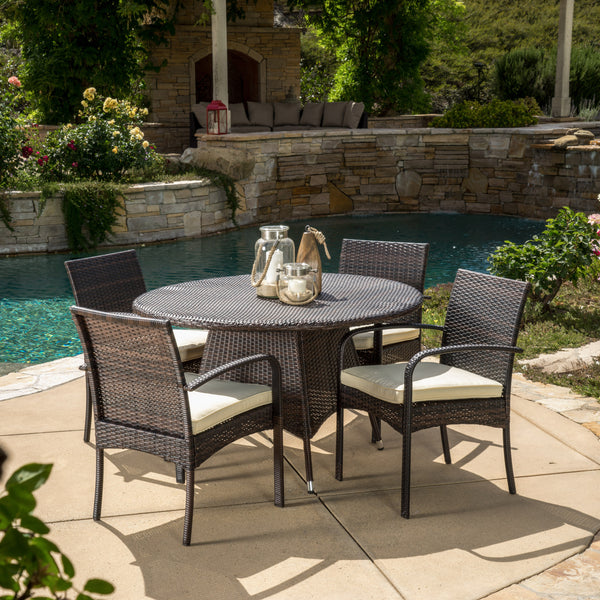 Carmela Outdoor 5pc Multibrown Wicker Dining Set