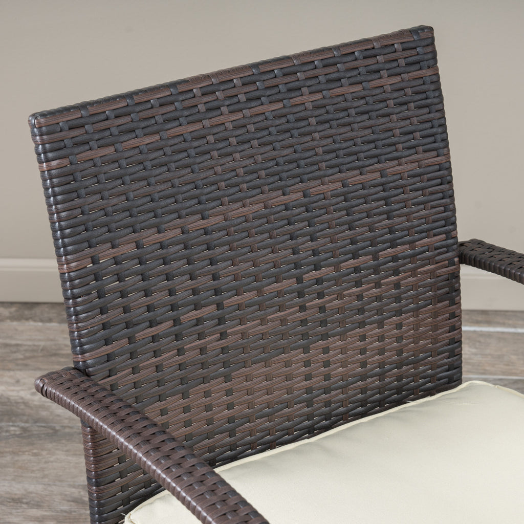 Carmela Outdoor 3pc Multibrown Wicker Bistro Set