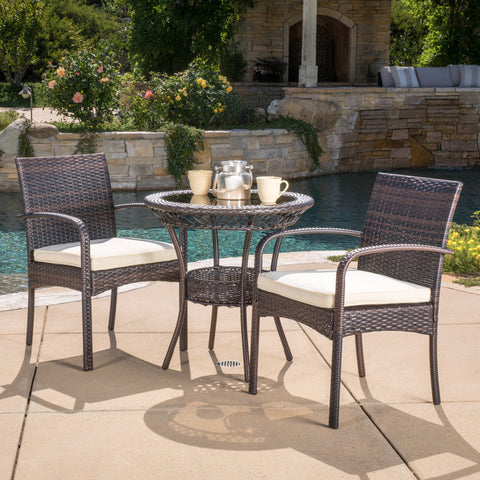 Meeker Outdoor 3-piece Wicker Bistro Set with Cushions