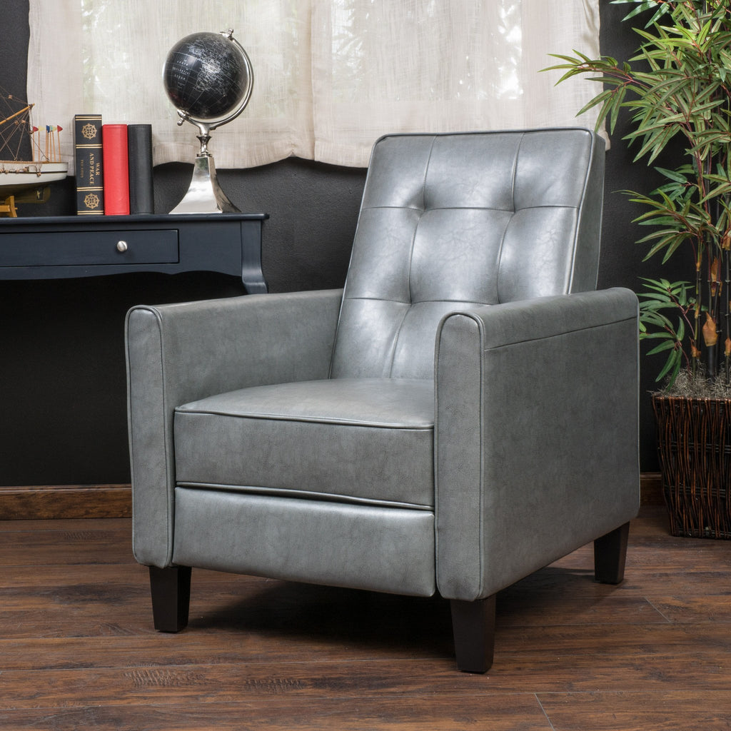 Elan Contemporary Tufted Dark Gray Bonded Leather Recliner with Tapered Legs