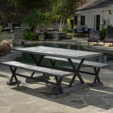 Colby Outdoor 3-piece Grey Picnic Dining Set