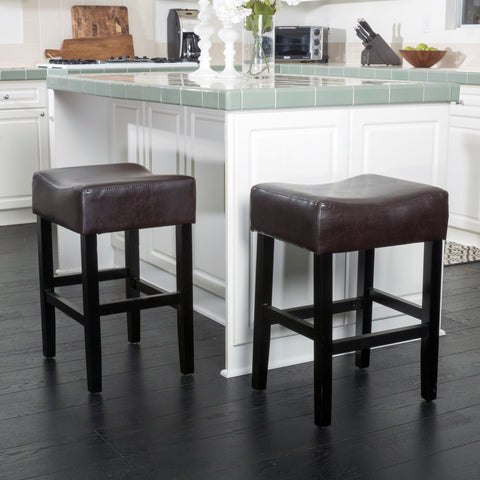 Adler 26-Inch Brown Leather Backless Counter Stool (Set of 2)