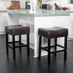 Adler Brown Leather Backless Counter Stool (Set of 2)