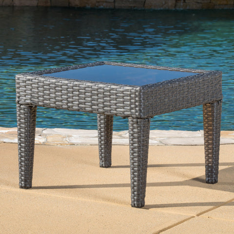 Jermaine Outdoor Grey Wicker Side Table