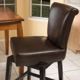 Madoc Brown Leather 31-Inch Swivel Barstool