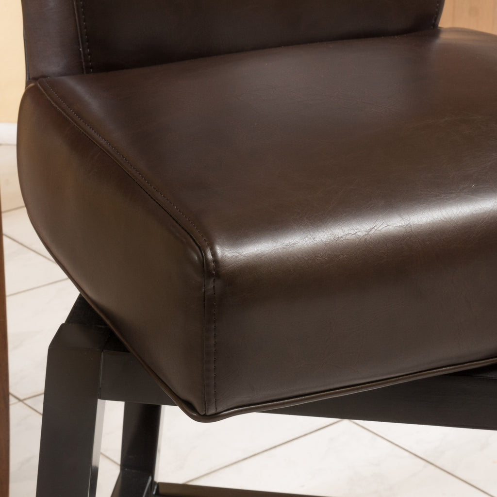 Bergen Dark Brown Leather Swivel Counter Stool