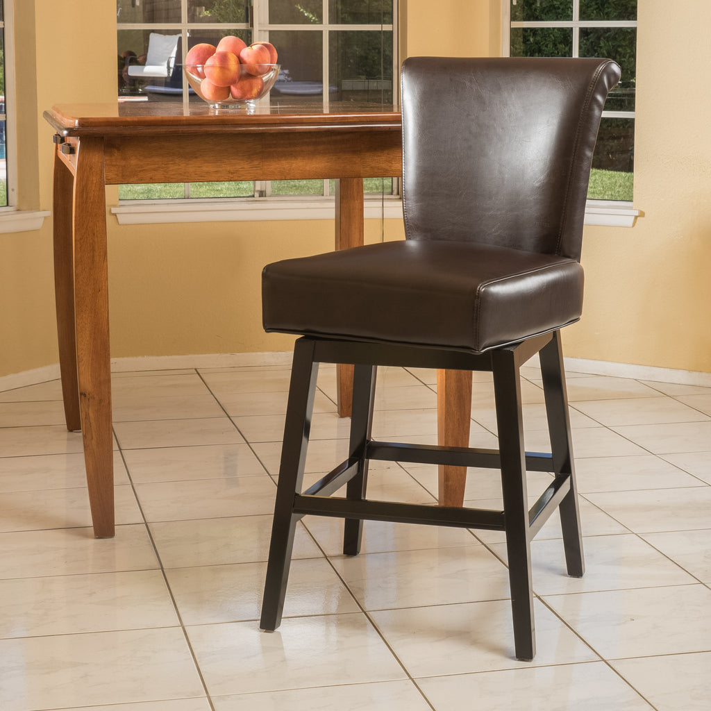 Bergen 27 Inch Dark Brown Leather Swivel Counter Stool Gdf Studio