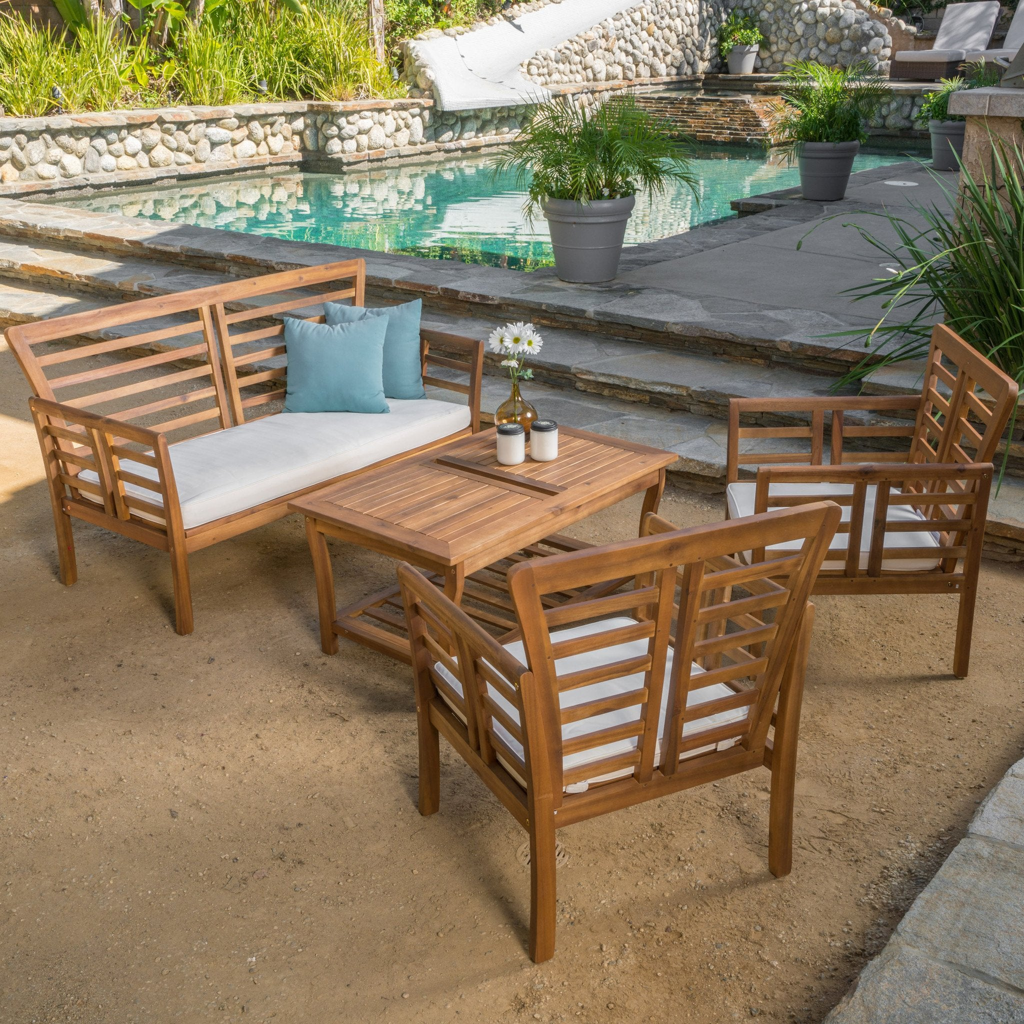 Gdf Studio Outdoor Solid Wood Chat Set Cushions Louis