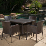 Clinton Outdoor 5-piece Brown Wicker Dining Set