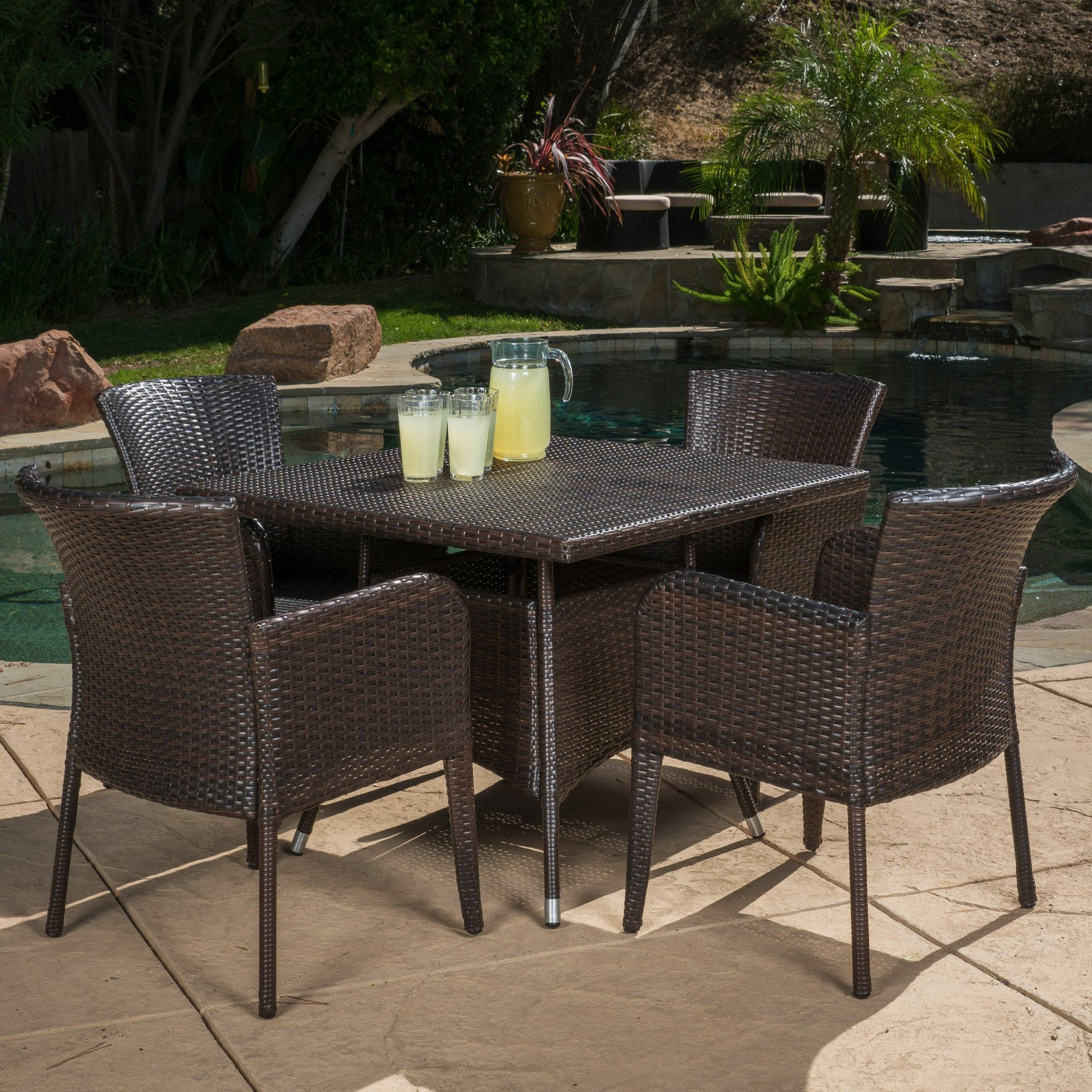 Gdf Studio Outdoor Brown Wicker Dining Set Clinton