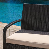 Denise Austin Home Kilburn Outdoor 4-Piece Multi Brown Wicker Chat Set