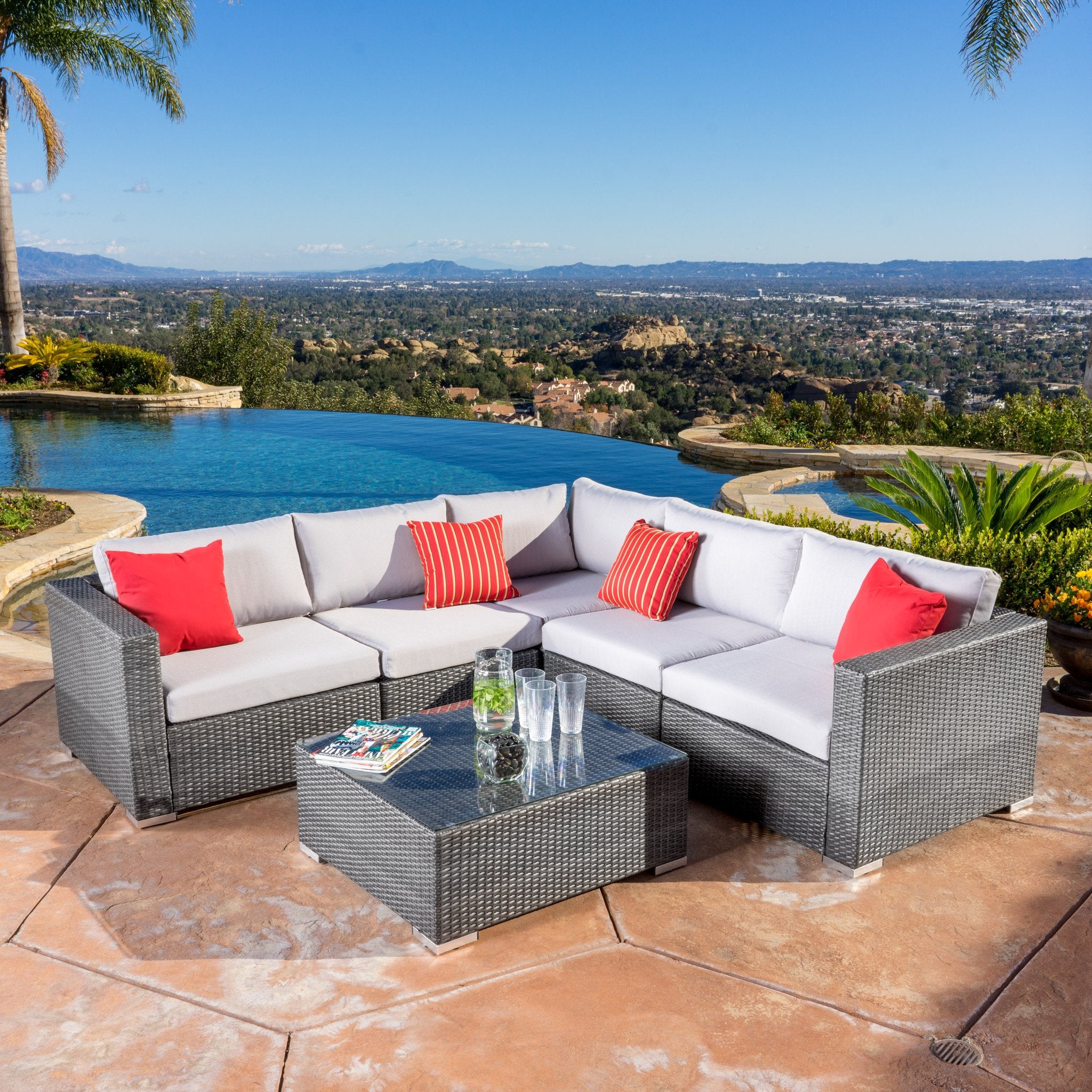 Outdoor Grey Wicker Seating Sectional Set Cushions foto