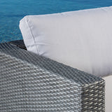 Francisco 6pc Outdoor Grey Wicker Seating Sectional Set w/ Cushions