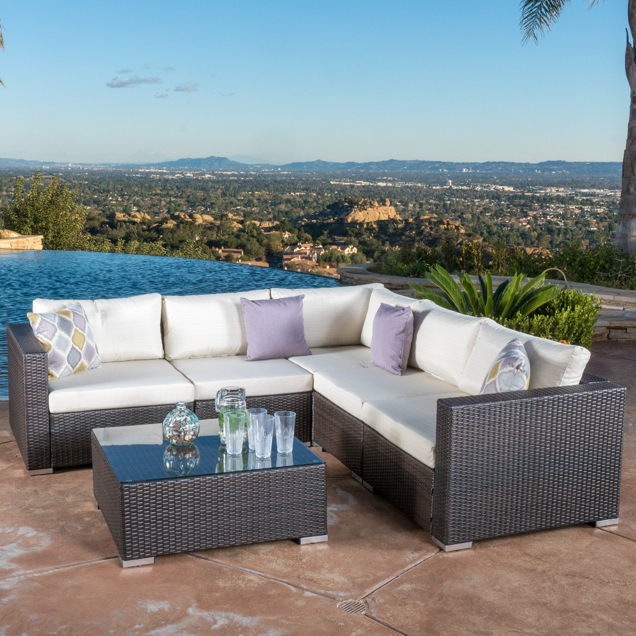 Outdoor Brown Wicker Seating Sectional Set Cushions foto