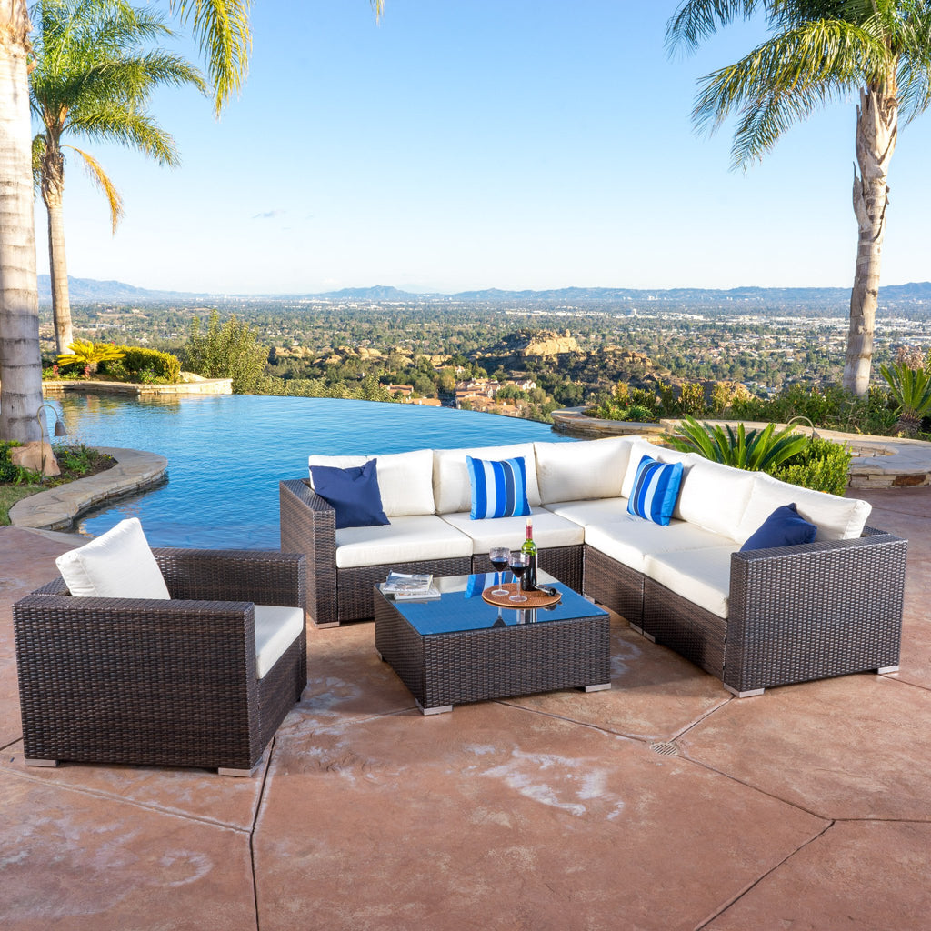Francisco 7pc Outdoor Brown Wicker Seating Sectional Set w/ Cushions